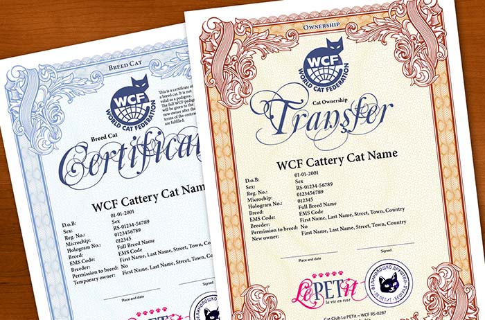Ownership transfer and Breed cat certificate
