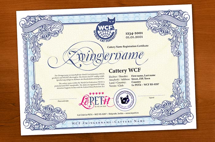 Cattery name certificate